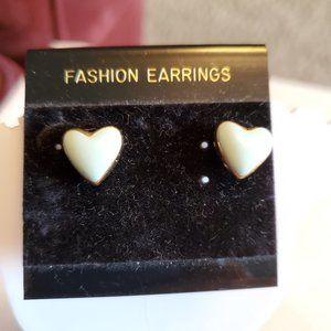 Gold Tone Mint Green Kim Rogers Heart Stud Earring